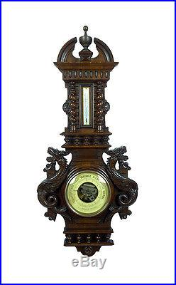 Huge Antique French Hand Carved Barometer Thermometer Weather Station at 1900