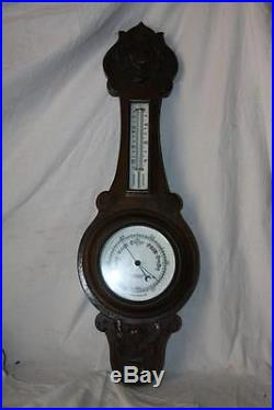 John Barker Kensington England Barometer Thermometer Hand Carved Oak Enamel