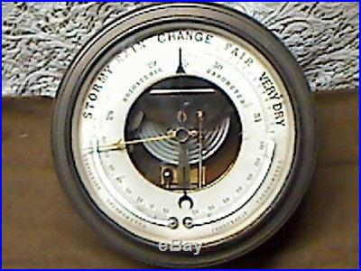 LARGE, ANTIQUE NAUTICAL BRASS HOLOSTERIC BAROMETER W/ TWIN THERMOMETERS