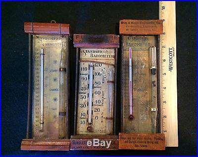 LOT OF 3 ANTIQUE STORM GLASS BAROMETERS INCLUDING AN ANTIQUE COTTAGE BAROMETER