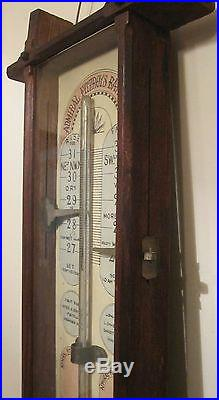 Large 1800s antique hand painted wood Admiral Fitzroy wall barometer thermometer