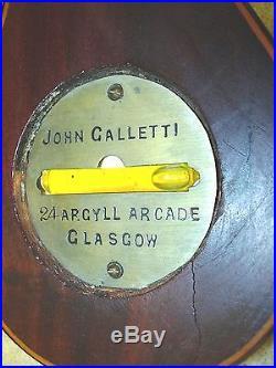 Large Antique 1800's John GALLETTI Wall Aneroid Barometer Glasgow Scotland 39