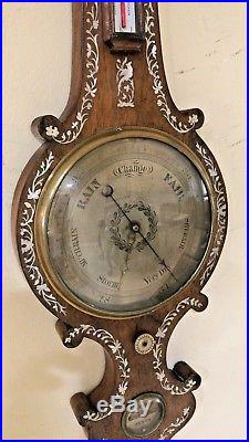Large Antique England Inlaid Victorian Barometer Thermometer 1820