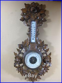 Large Antique Hand Carved Barometer Weather Station