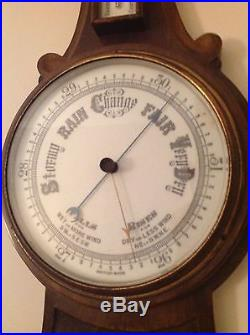 Large Antique Nautical Hand Carved Barometer Thermometer Weather Station England