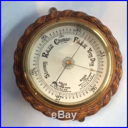 Large Antique Solid Oak Rope Carved English Barometer Weather Station Vintage
