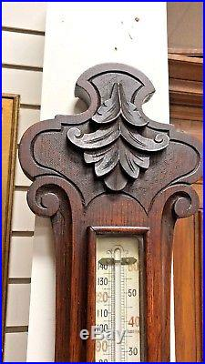 Large Antique Wood Carved Barometer Thermometer 1890