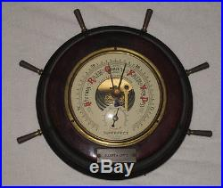 Ltd Toy Stamp & Vintage Superfect 2 In1 Baro-Thermometer Ships Wheel P12