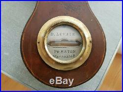 MAHOGANY WHEEL BAROMETER early 1800's 38 D. Luvate Preston