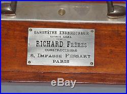 Mahogany Cased Recording Barograph Barometer Richard Freres a Paris