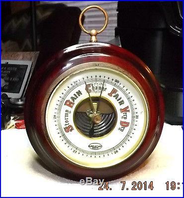 Mahogany Vintage Barometer Brass Frame & Beveled Glass Made in Germany