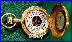 Miniature Altimeter Barometer Compass Compendium 18 Carat Gold Hallmarked