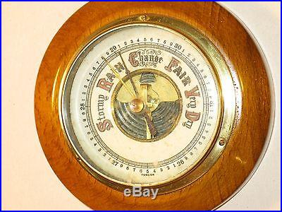 NICE ANTIQUE WOOD AND BRASS BAROMETER