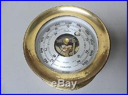 NICE VINTAGE BOSTON CHELSEA CLOCK USA BRASS SHIP'S BAROMETER, 5.5