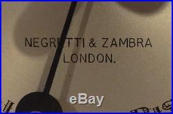 Negretti & Zambra Barometer London England Wooden Round 9 EUC