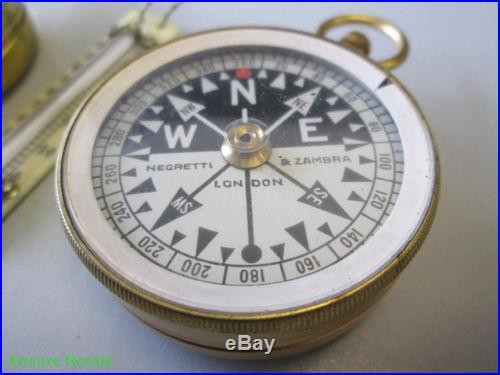 Negretti & Zambra Pocket Compensated Barometer & Compass w/Thermometer in Case