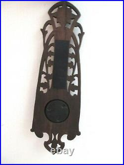 OLD GERMANY Art Nouveau Black Forest Old Barometer and Thermometer