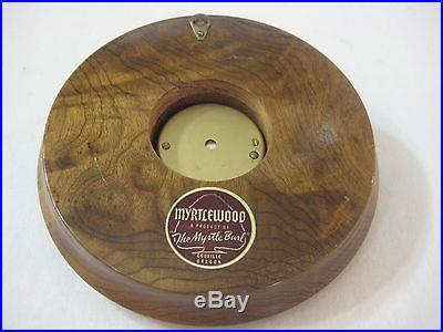 OLD VINTAGE MYRTLEWOOD THE MYRTHE BURL COOUILLE OREGON BAROMETER-GOOD WORKING