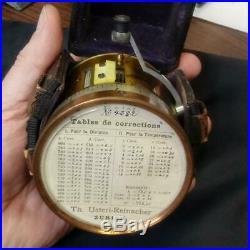 Old 1800s USTERI Reinacher ZURICH Fine Swiss POCKET BAROMETER in FITTED CASE