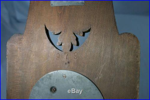 Old Carved Wood Brass Wall Barometer HF Model 979 NR