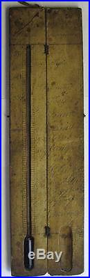 Primitive 17 or 18th Century French Thermometer Barometer in Wooden Case