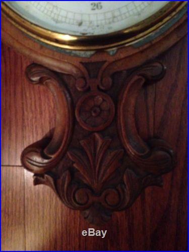 Primitive Antique Barometer Thermometer & Clock Carved