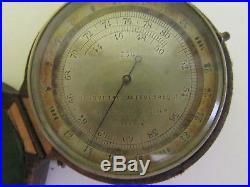 RARE! Antique Baromètre altimétrique du colonel Goulier barometer W leather case