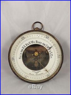 RARE Antique FRANK HYAMS / ELLERYS INDICATIONS Brass Cased ANEROID BAROMETER NR
