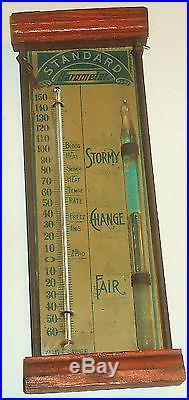 RARE Antique STANDARD BAROMETER w/THERMOMETER by CHARLES LARGE BROOKLYN NY! NR