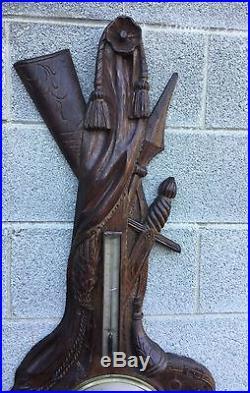 Rare Black Forest Carved Oak Barometer With Hunting Scene