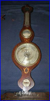 RARE EARLY ANTIQUE BANJO WHEEL BAROMETER W/ THERMOMTER
