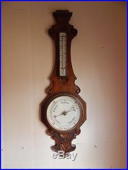 RARE Early WHEEL english Mahogany BAROMETER Antique WEATHER STATION banjo