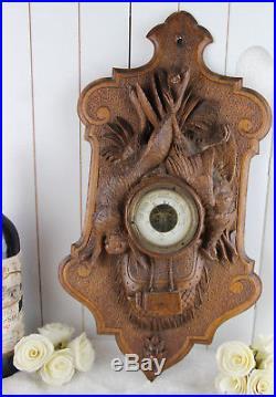 RARE German Black forest wood carved hunting trophy Barometer 1900