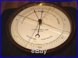 RARE Paul Naudet /S. THAXTER & SON Boston Brass Enamel Holosteric Barometer WOW