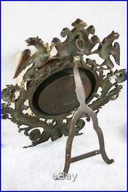 Rare 19th C Bronze Lion Dragon gothic Barometer antique French