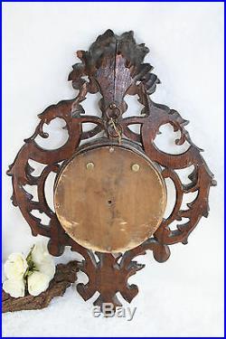 Rare Antique Black forest style Wood carved Dragon birds Barometer fruits