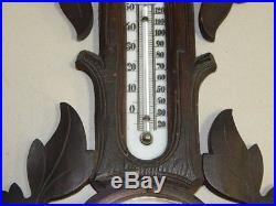 Rare Antique Carved Wood Barometer Weather Station W Ecker, Lucerne
