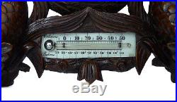 Rare Antique Dutch Hand Carved Barometer Thermometer Weather Station at 1900