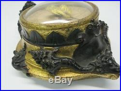 Rare Antique French petite barometer with gilded bird dial Wind God gilded gesso