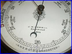 Rare Antique Ornate Large wood carved Barometer JW Fawell Sheffield 1902