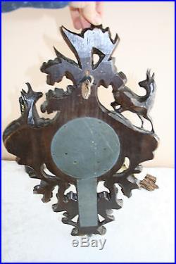 Rare Antique Swiss Black forest wood carved deer hunt dog barometer 19thc