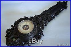Rare Antique Victorian Gutta Percha Thermoplastic Wall Barometer angels cherubs