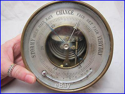 Rare Brass Antique M F Round Curved Glass Thermometer Aneroid Barometer