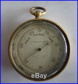 Rare English Brass Pocket Barometer, F. Darton & Co. London, Late 19th/20th