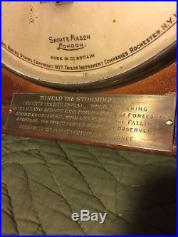 Rare Large Antique Mahogany Frame Short & Mason London Stormoguide Barometer