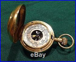 Rare Miniature Altimeter Barometer Compass Compendium 18 Carat Gold Hallmarked
