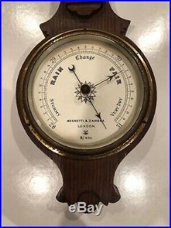 Rare Negretti & Zambra Antique Large London Wall Barometer Weather Forecaster