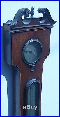 Rare Old 19th C Antique Banjo Barometer Thermometer Hygrometer W Horrod London