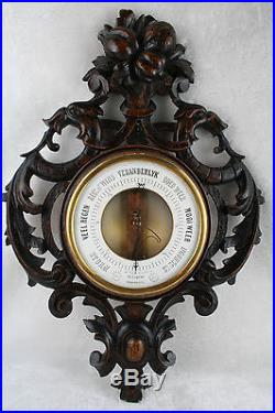 Rare Unusual Black forest style Wood carved Dragon birds Barometer fruits