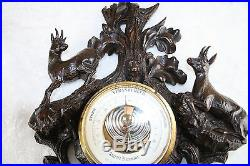 Rare Unusual Black forest wood carved deer hunt dog barometer 19thc